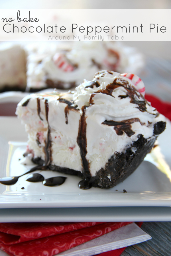 Don't stress about your holiday dessert, this No Bake Chocolate Peppermint Pie is so easy to throw together and uses seasonal peppermint ice cream as the base!