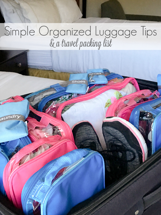 Family travel doesn't have to be hectic. I can pack my family of 4 quickly and keep us organized on the road. Check out these Simple Organized Luggage Tips and a bonus travel packing list.