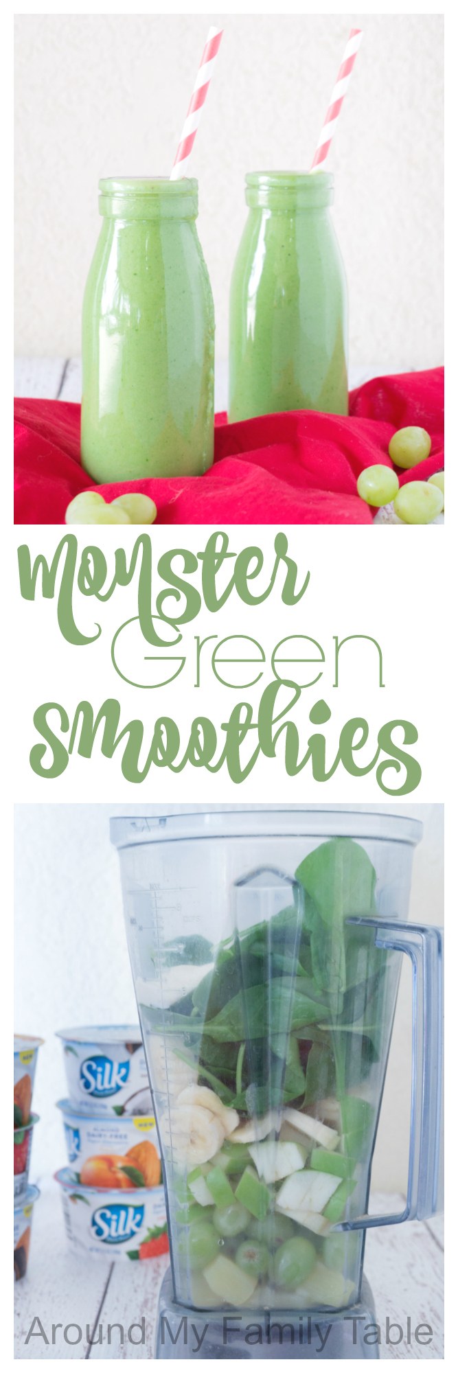 Blend up these Green Monster Smoothies for a cool afternoon snack; they are filled spinach and protein but sweetened with fruit so that even the pickiest eaters will love it.