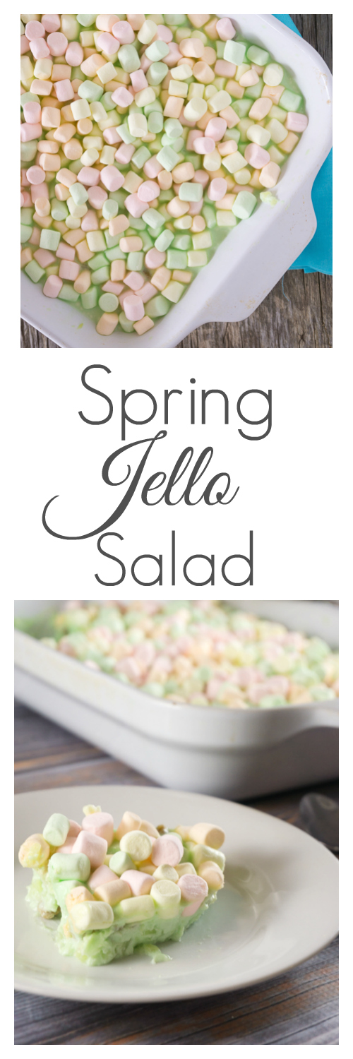 A simple and colorful Spring Jello Salad will be the highlight of your next big family meal. It's perfect for Easter or any spring holiday.