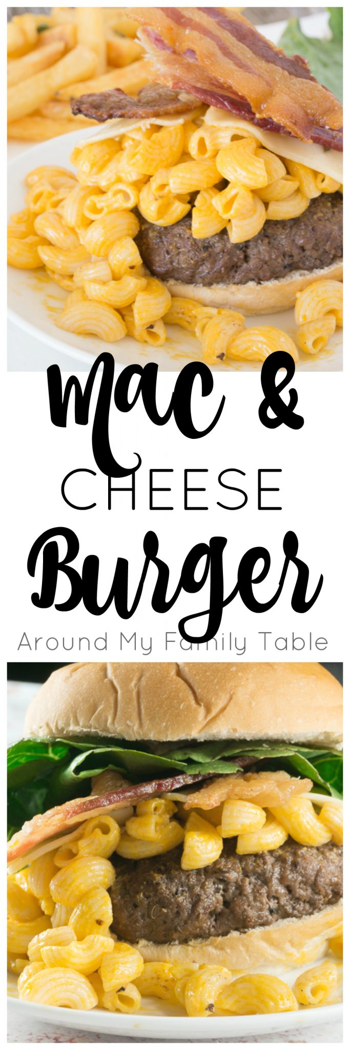I've kicked up our plain ol' cheeseburger to this colossal Mac & Cheese Burger. A perfectly grilled burger topped with my favorite macaroni and cheese and of course loads of bacon...it's absolute perfection!