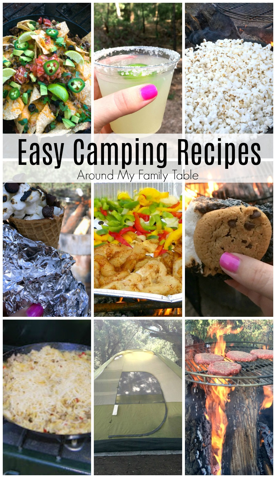 collage of camping recipes