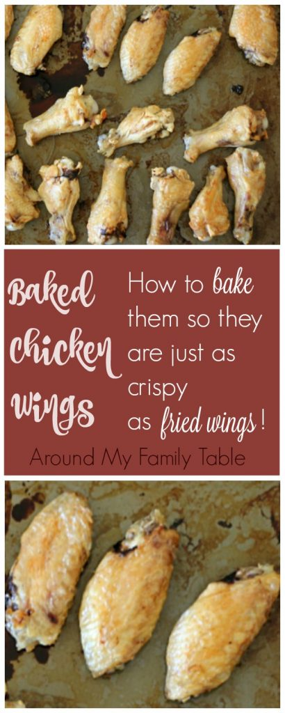 Crispy chicken wings are the perfect game day food! Learn how to make baked chicken wings that are less fattening than fried wings, but they are perfectly crispy and delicious. | Around My Family Table