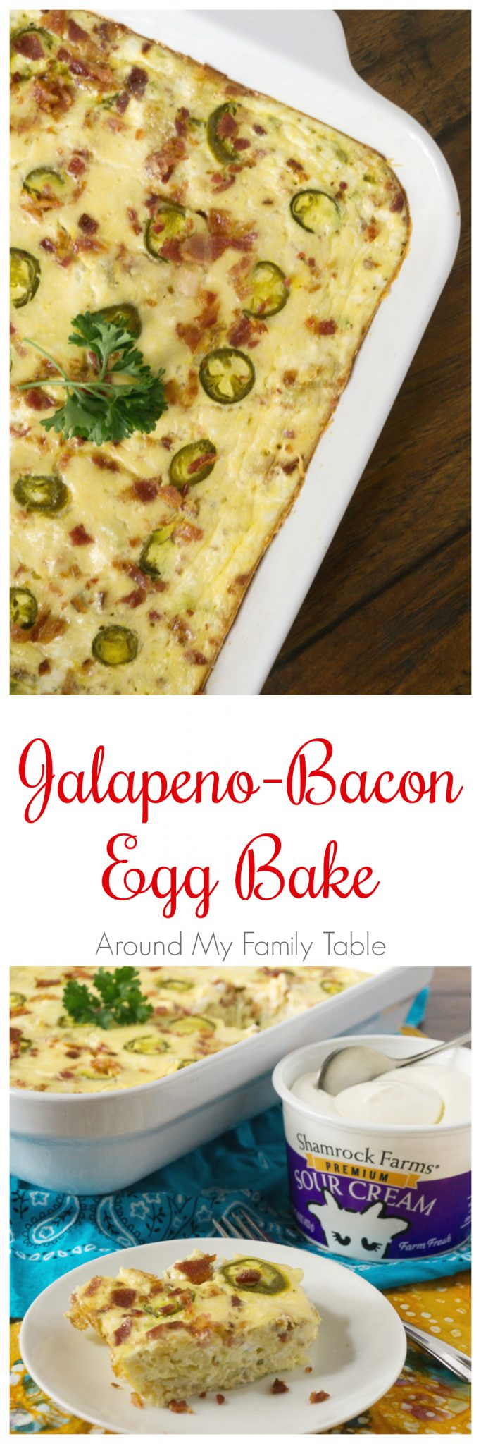 Rise and shine with this delicious Jalapeno Bacon Egg Bake. It's full of bacon, cheesy goodness and great for a late weekend breakfast and absolutely perfect for a potluck!