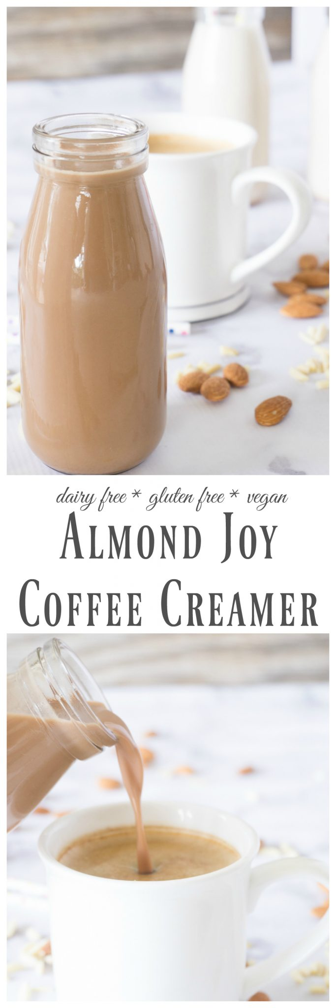 Splurge a little with this thick and creamy dairy free Almond Joy Coffee Creamer.  It's made completely from scratch and just a few basic ingredients like almonds, cocoa powder, sugar, and extracts.