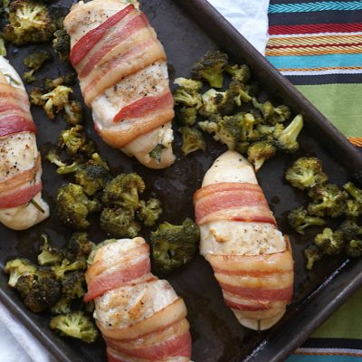Goat Cheese Stuffed Bacon Wrapped Chicken {Sheet Pan Meal}