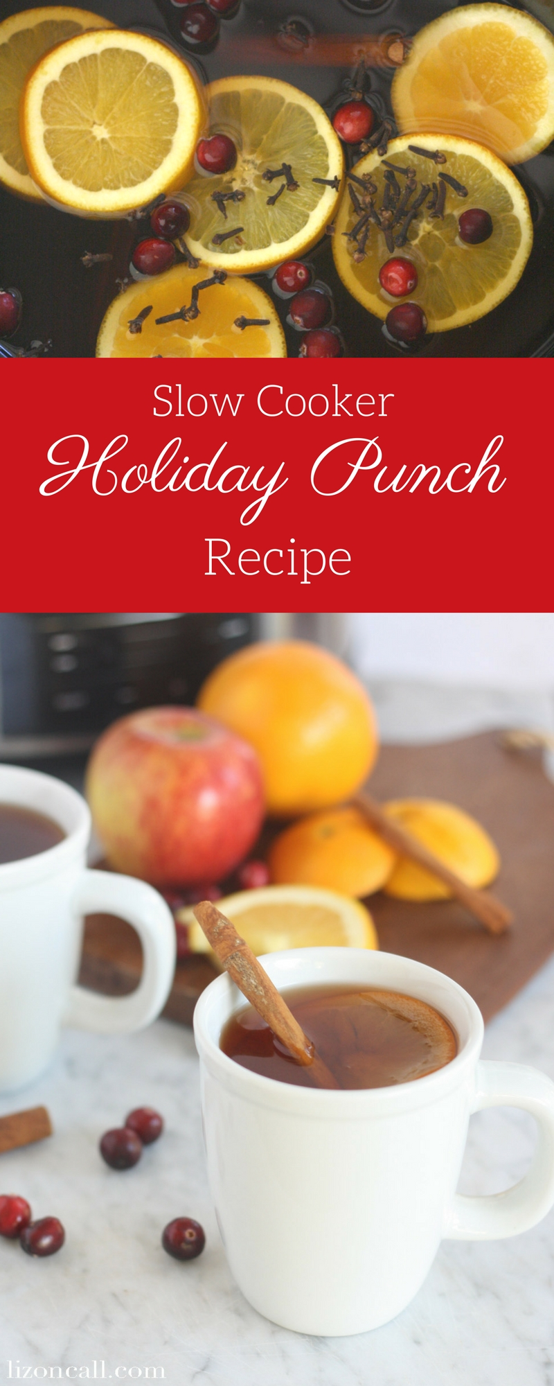 collage image of slow cooker party punch