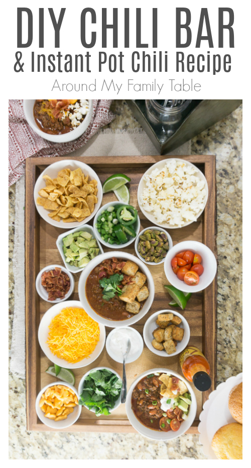 DIY Chili Bar! This Chili Bar comes together faster than the Instant Pot Chili Recipe. It's perfect for game day! #chili #chilibar #instantpot