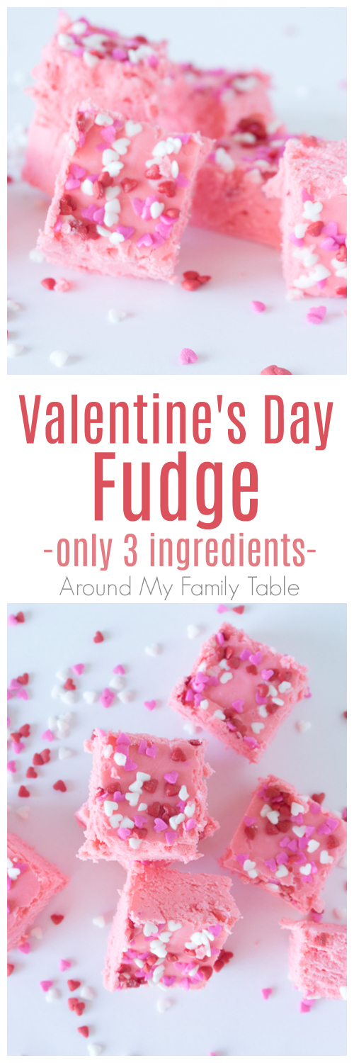 Make this quick Valentine's Day Fudge for your sweetie this February.  It has only 3 ingredients and ready in no time at all! #valentinesday #valentinesdaydesserts #desserts #fudge
