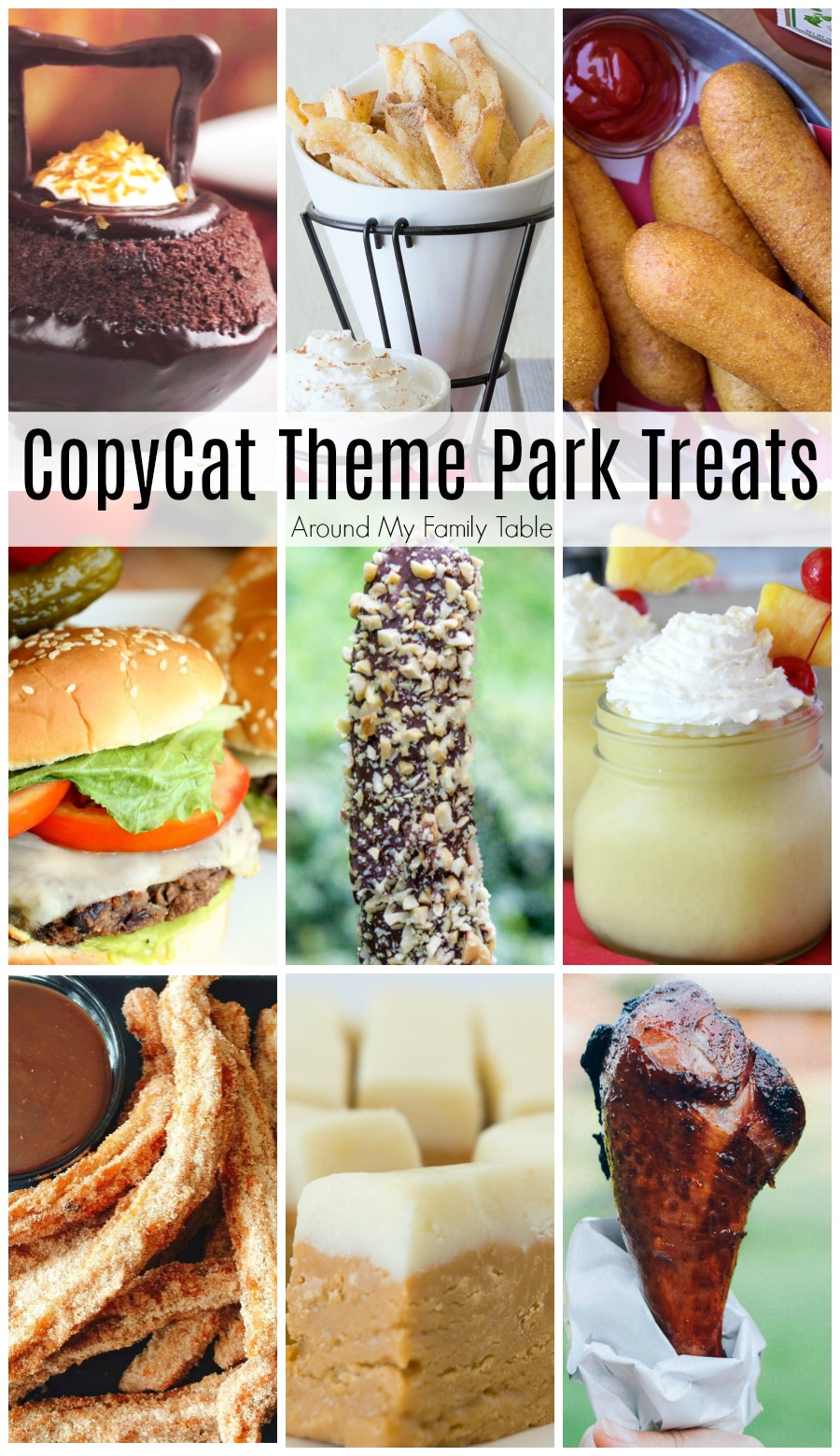 collage of theme park recipes