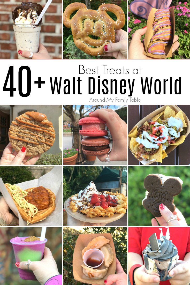 There is no shortage of food at Walt Disney World in Florida. From gourmet dining to popcorn....there is something for everyone. These are the 40+ Best Treats at Walt Disney World. #disneyworld #waltdisneyworld #disneyfood