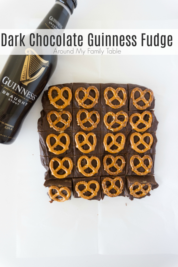 Beer fudge is a unique and easy fudge to make and perfect for the beer lover in your life.  I make this decadent Dark Chocolate Guinness Fudge several times a year and it's always a hit! #fudge #fudgerecipes #easygourmetfudge #guinness