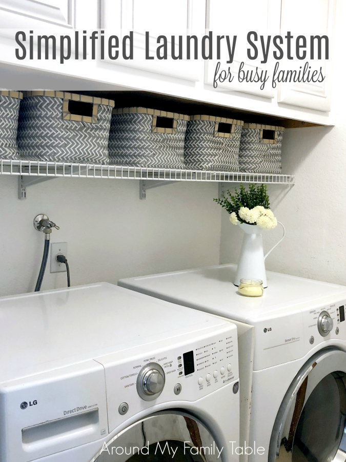 Learn how to simplify laundry day and organize your laundry area. I have several manageable solutions for your next laundry day. You'll love my Simplified Laundry System for Busy Families that includes a free Laundry Stain Removal Guide printable.