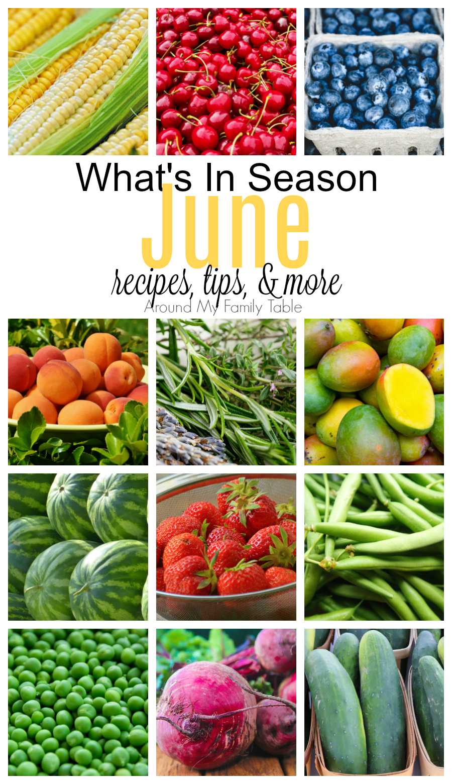 June has is a mixture is full of summer berries and stone fruit, with a few vegetables thrown in too. Find out all about June Seasonal Produce in this June -- What's In Season Guide. #seasonalproduce #whatsinseason #eatseasonally