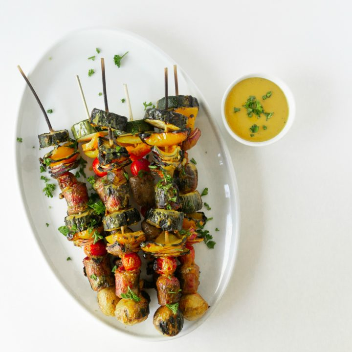 Fire up the grill for theseBrat & Vegetable Kabobs with Mustard BBQ Sauce. The Mustard BBQ sauce adds a tangy twist to the kabobs. It's the perfect glaze for the brat kabobs since nothing pares better with a grilled brat than some yellow mustard.