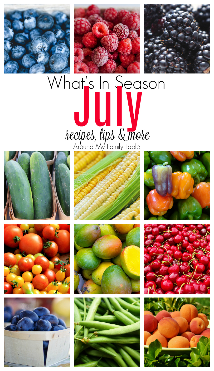There is so much delicious produce in July and if you are like me, I try to save money at the store by buying produce that's in season.  It's cheaper, it's fresher, and it didn't travel very far to get to your table. My July — What's in Season Guide is your guide to July Seasonal Produce along with recipes, tips, and more!