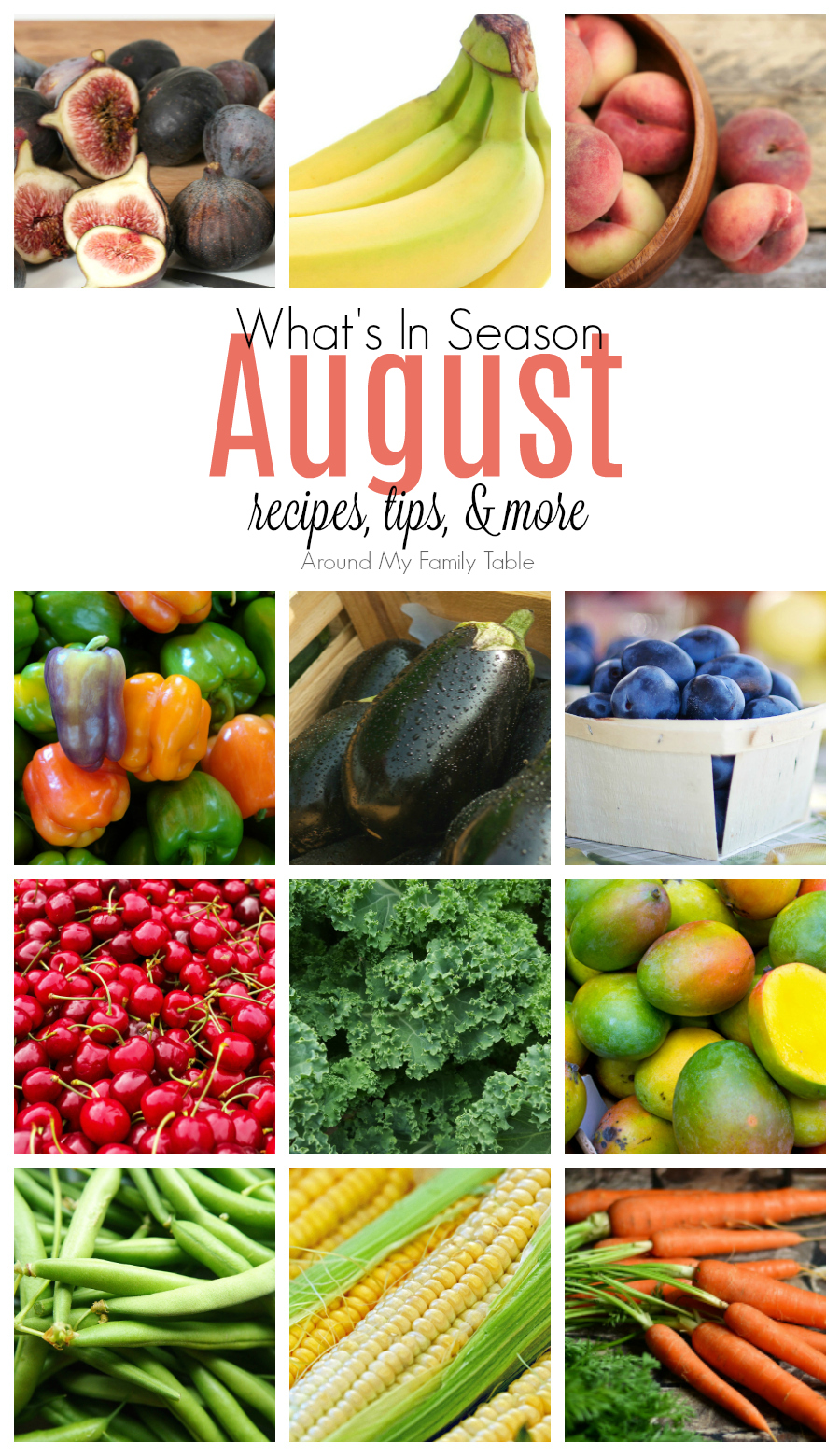 August has a great mixture everything: berries, stone fruit, with a few vegetables thrown in too. Find out all about August Seasonal Produce in this August -- What's In Season Guide. #augustproduce #eatseasonally