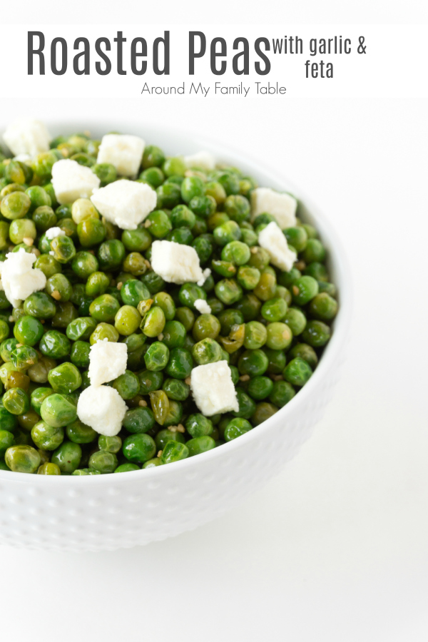 If you haven't tried pan roasted peas you are missing out. My Roasted Peas with Garlic & Feta is a quick, easy, and delicious side dish. The sweet flavor of the peas goes nicely with the tangy feta and roasting them just takes the peas to a whole other level.