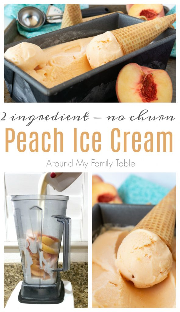 collage of peach ice cream, in the blender and scooped with ice cream cones