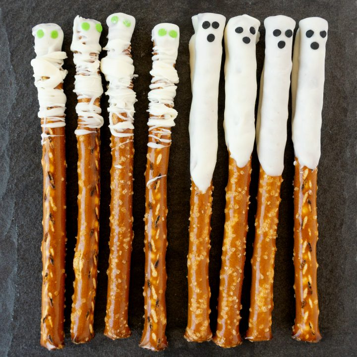 Ghost & Mummy Halloween Pretzels are salty, sweet, and make a creepy-cute surprise for friends and trick-or-treaters alike.