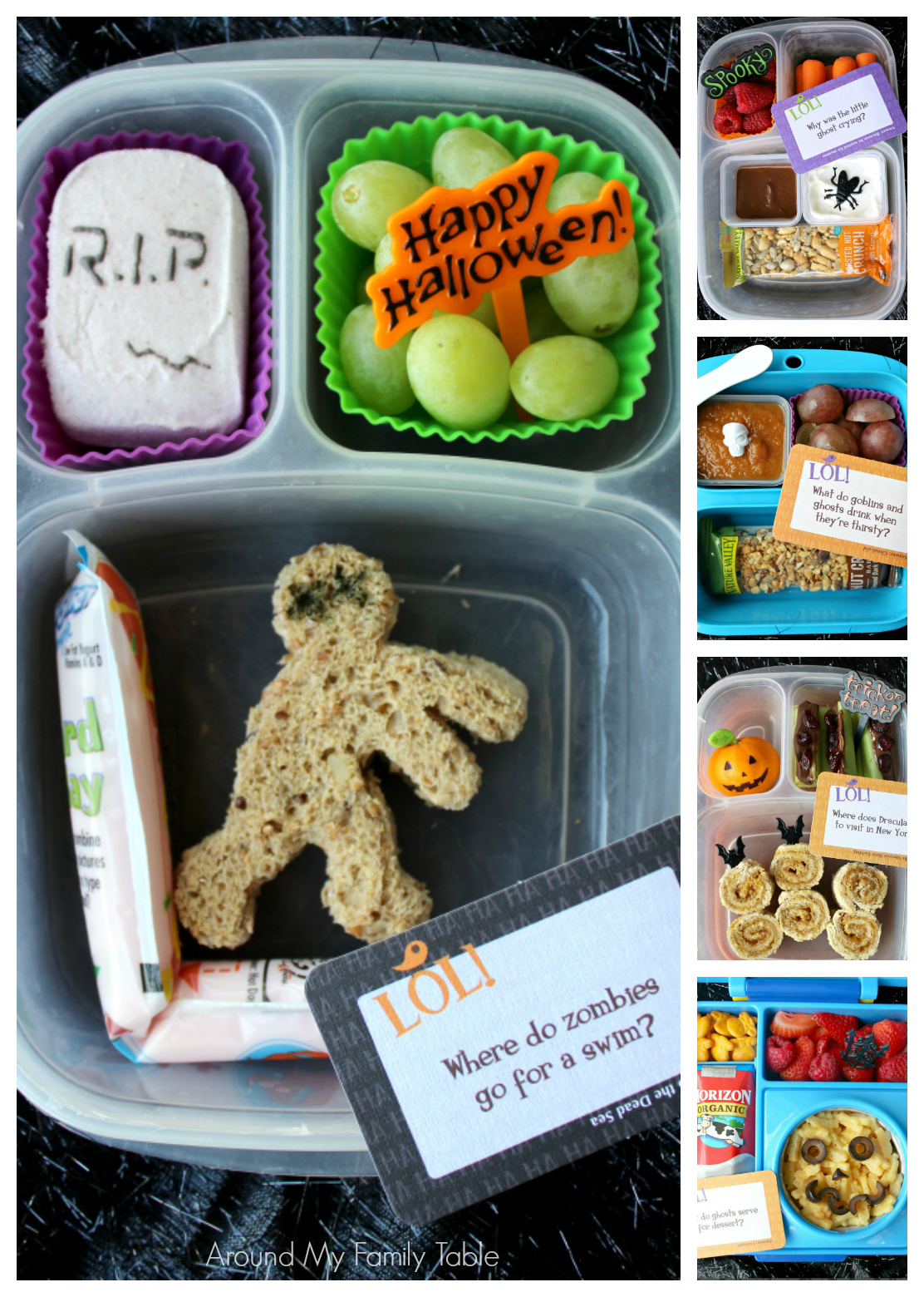 Halloween Bento Box Ideas -- Kids love getting holiday inspired Bento Boxes for their lunch. These Halloween Bento Box Ideas are easy to put together and not too spooky.