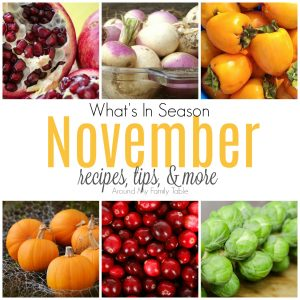 Bring on turkey & pie! This November Seasonal Produce guide has recipes, tips, and more for everything in season this month. #seasonalproduce #eatseasonally