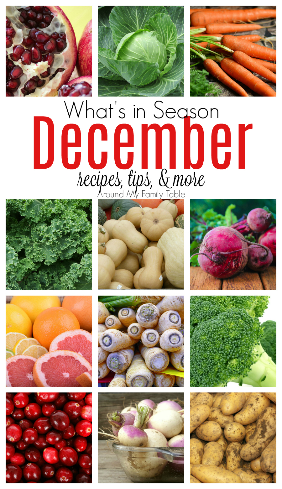 It's time for cranberries & winter squash! This December Seasonal Produce guide has recipes, tips, and more for everything in season this month.