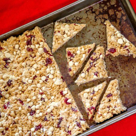 Cranberry & White Chocolate Rice Krispies Treats