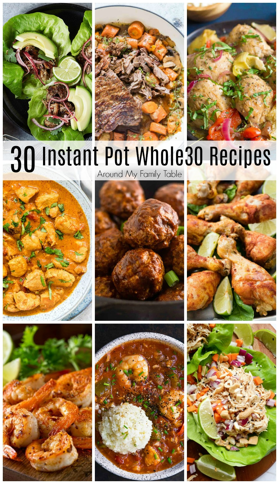 Planning for your Whole30 month doesn't have to be overwhelming.  I've collected a month's worth of delicious Whole30 Instant Pot Recipes to get you through the month. #whole30 #instantpot via @slingmama