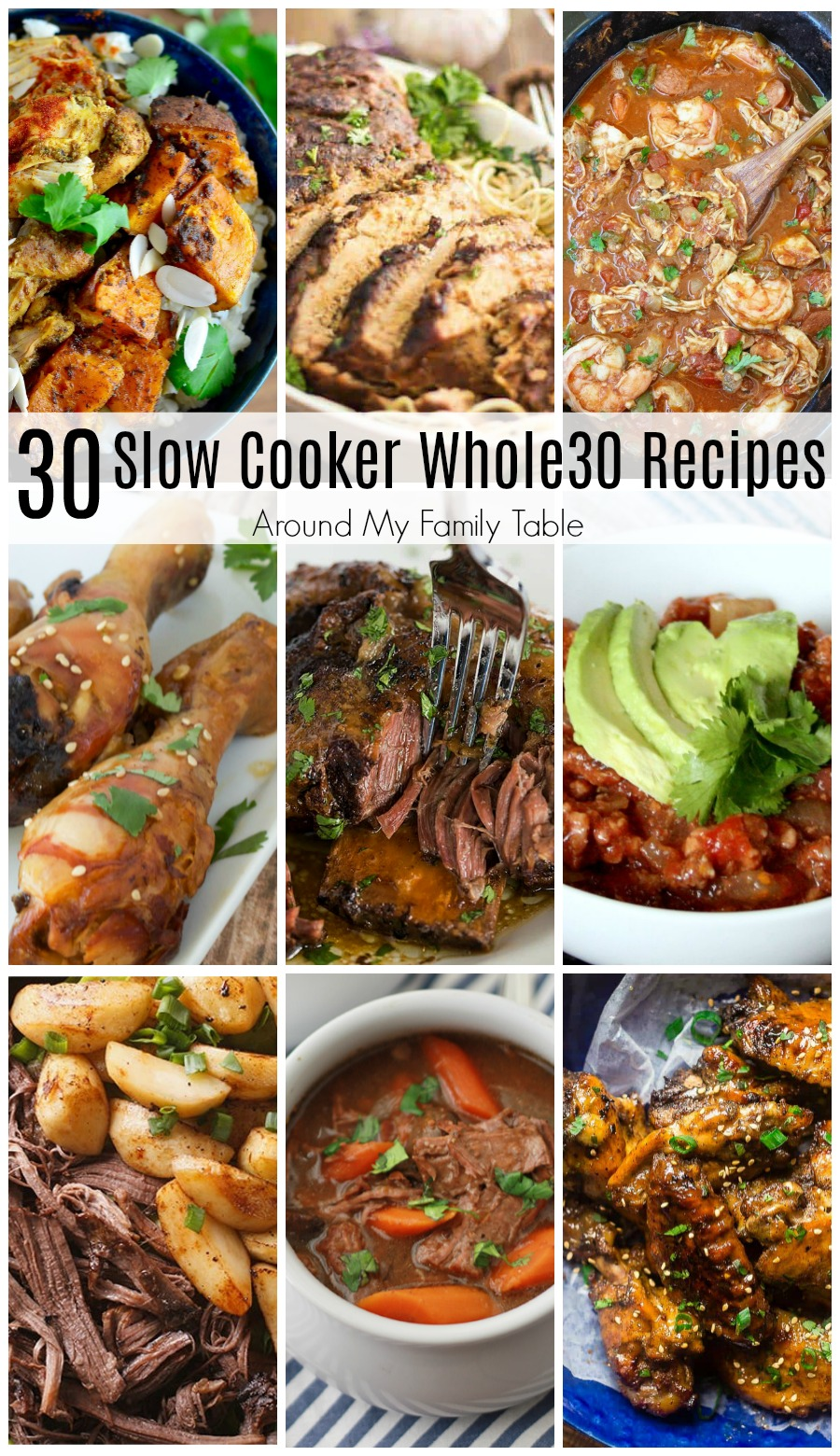 One Month of Whole30 Slow Cooker Recipes is all you need to successfully complete a round of Whole30.  Easy dinners are the best, especially while trying to lose weight or get healthy.
