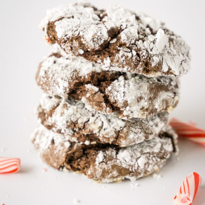 You're sure to love these Peppermint Bark Chocolate Crinkle Cookies. They are made with box of cake mix and some peppermint bark candies.