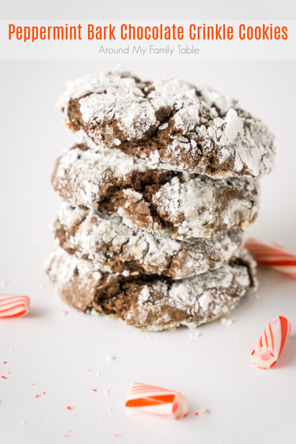 You're sure to love these Peppermint Bark Chocolate Crinkle Cookies. They are made with box of cake mix and some peppermint bark candies. So good, bet you can't eat just one!