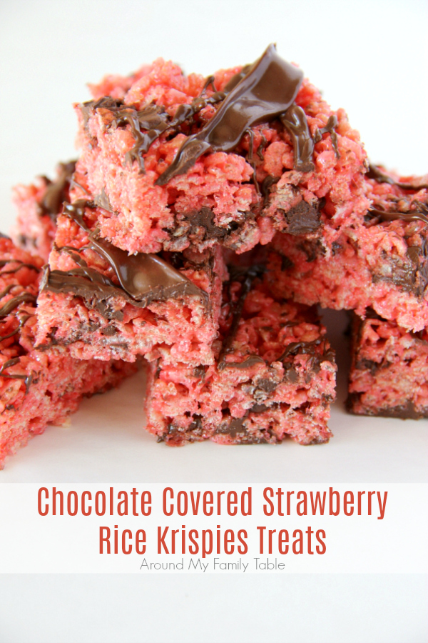 Grab a couple of these Chocolate Covered Strawberry Rice Krispies Treats because I might have created a monster when I added strawberry jello to my favorite rice krispies treats recipe and then drizzled chocolate all over the top. via @slingmama
