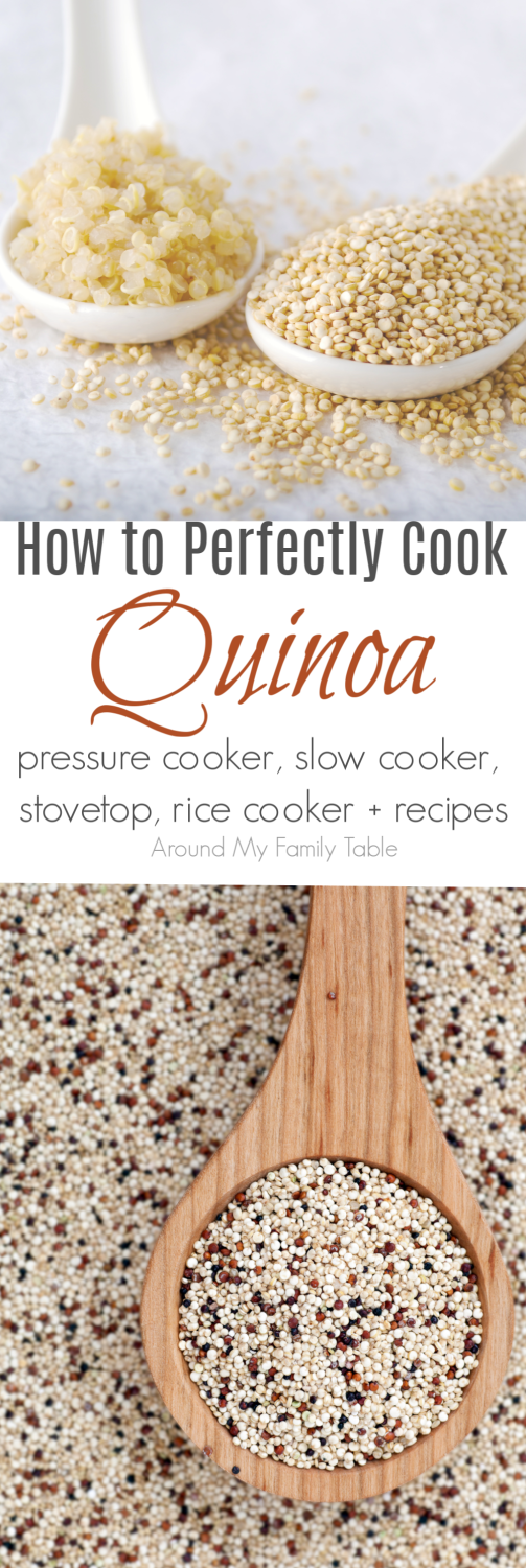 Everything you've wanted to know about Quinoa.  This How to Cook: Quinoa guide features instructions on stovetop, pressure cooking, slow cooking and even rice cooker methods for cooking quinoa, plus there are a few delicious recipes to try as well.