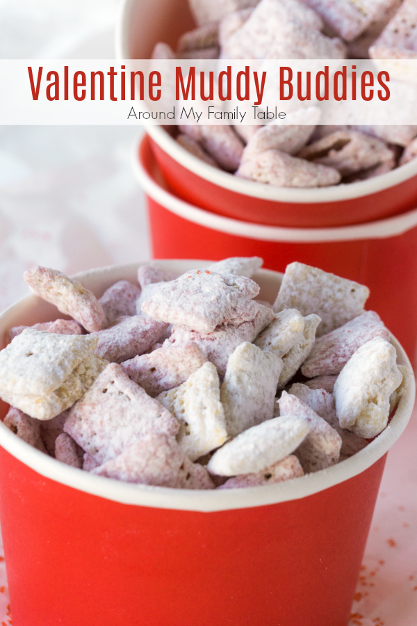 All you need is 15 minutes for these strawberry flavored Valentine Muddy Buddies. They are such a fun and easy valentine party treat that everyone will love.