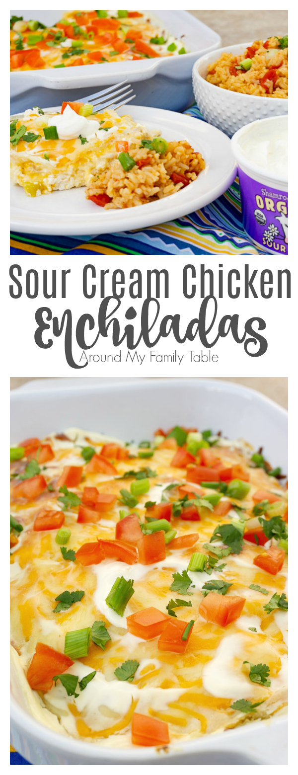 Just a few simple ingredients plus Grandma's secret family recipe make these Sour Cream Chicken Enchiladas perfect for a quick weeknight supper.
