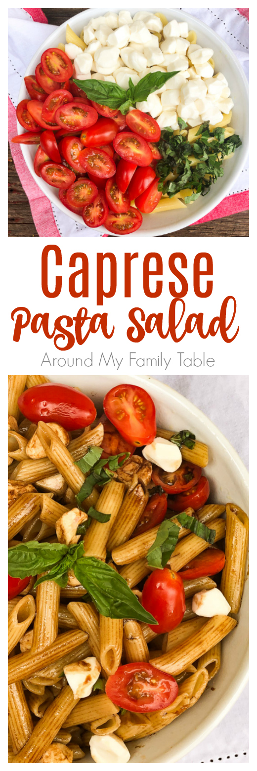 Calling all caprese salad lovers! Everything you love about a caprese salad in this delicious cold Caprese Pasta Salad recipe that is perfect for summer. It's a picnic worthy side dish that everyone will love. via @slingmama