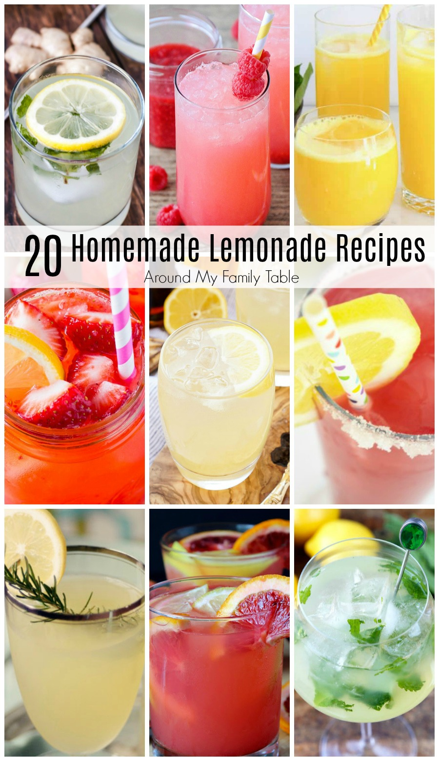 collage of lemonade drinks