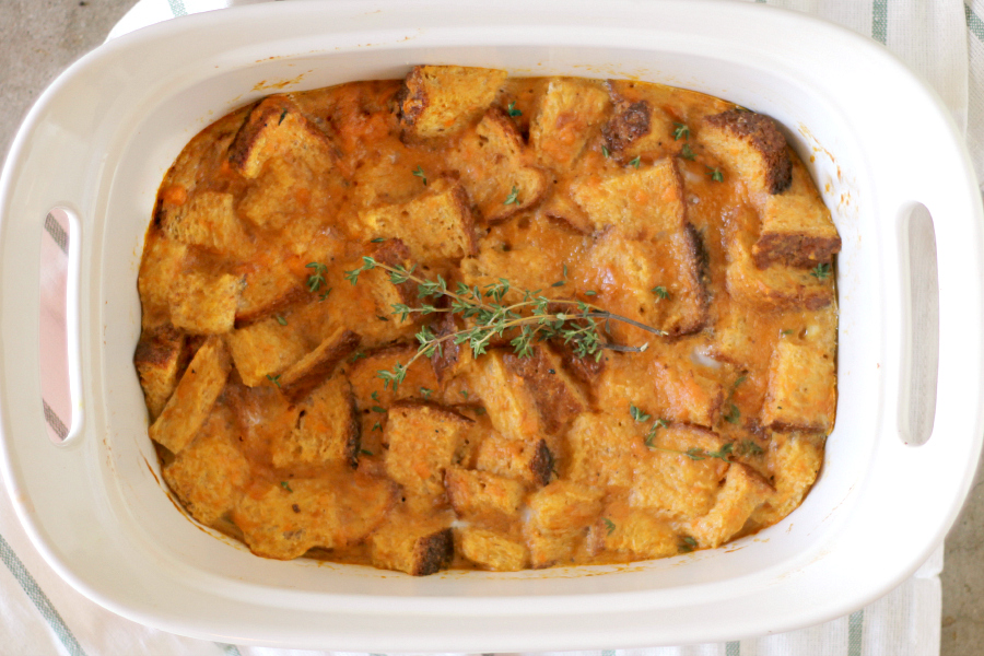 sweet potato breakfast casserole in a white dish