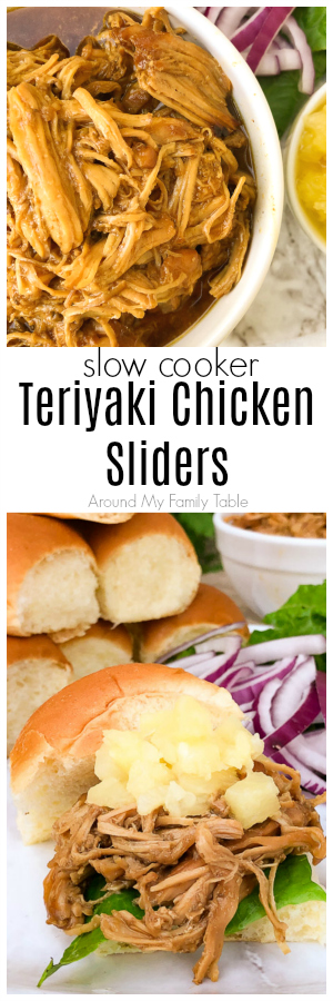 These Slow Cooker Teriyaki Chicken Sliders are topped with crushed pineapple and red onions all on Hawaiian slider rolls.They are so easy in the slow cooker and the scratch made sauce is so simple and better than any bottled sauce. #teriyakichicken #sliders #slowcooker #crockpot #easydinners #slowcookerdinner via @slingmama