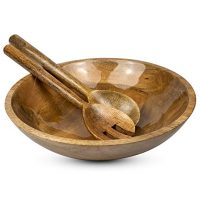 Wooden Salad Bowl Set with Servers