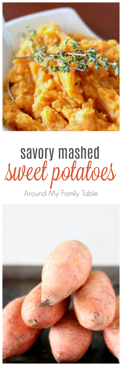 Move over cinnamon and sugar, hello thyme and butter!  These Savory Mashed Sweet Potatoes are easy, creamy, and scrumptious.  via @slingmama