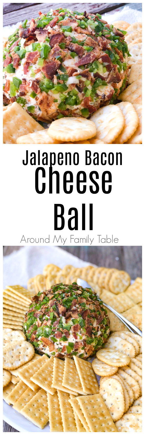 This Jalapeño Bacon Cheese Ball is creamy and a little spicy and the perfect addition to any party, potluck, or holiday meal. Loads of cheddar cheese, bacon, jalapeños and a little green onion make it absolutely delicious. via @slingmama