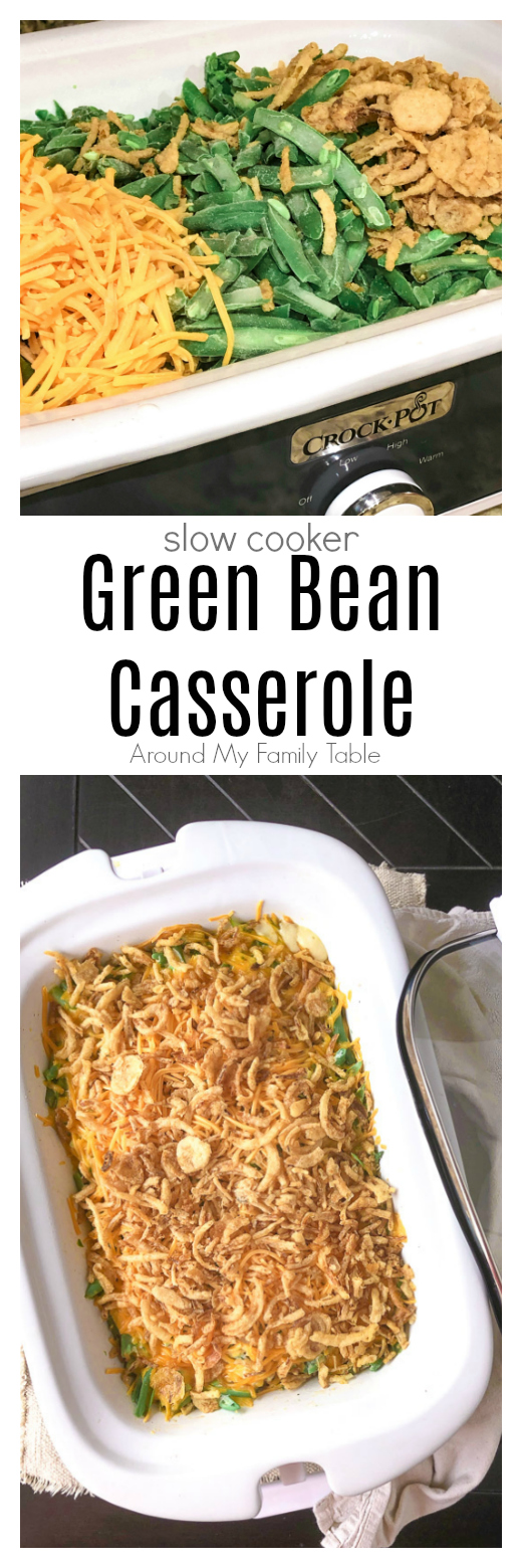 Free up some oven space during the holidays with this delicious Slow Cooker Green Bean Casserole with cheese.  via @slingmama