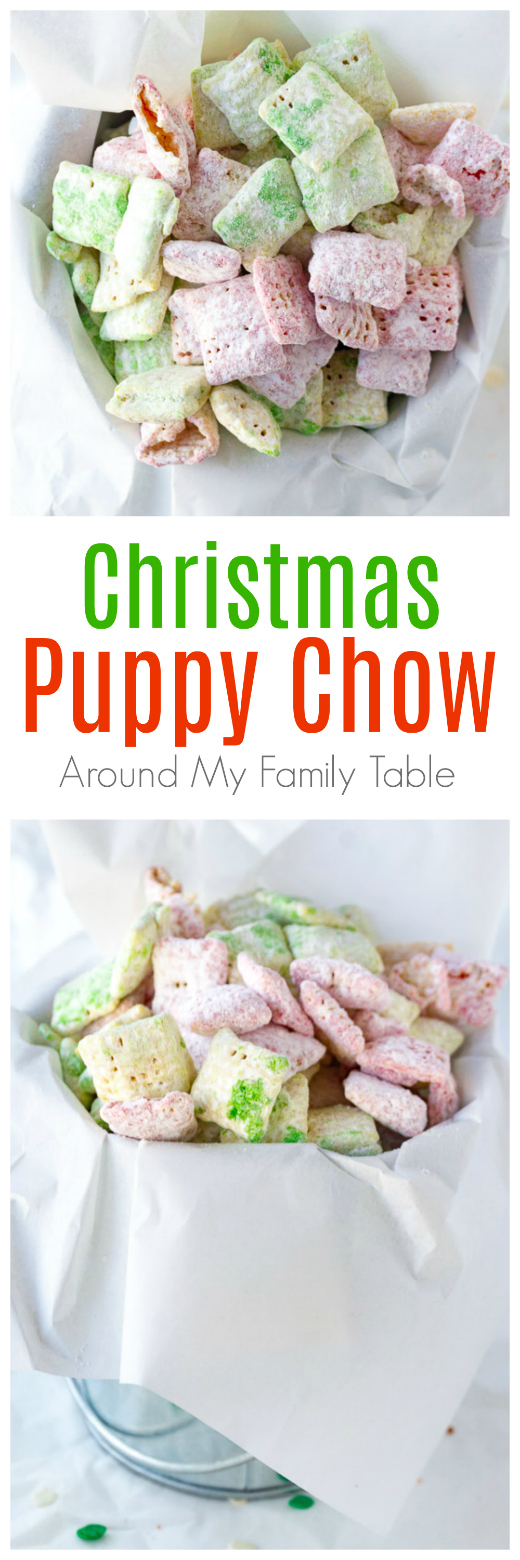 Christmas puppy chow is a sweet snack made with Chex cereal, white chocolate, and white-as-snow powdered sugar. For a festive touch, a few drops of red and green food coloring are added. As a result, you have the perfect holiday party treat! #christmasrecipes #muddybuddies #puppychow #christmas via @slingmama