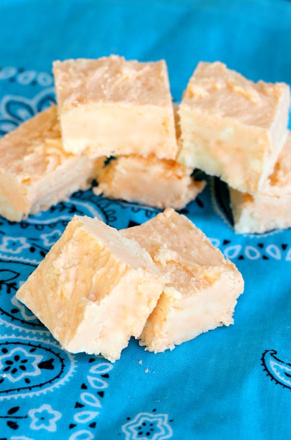 orange creamsicle fudge of blue napkin