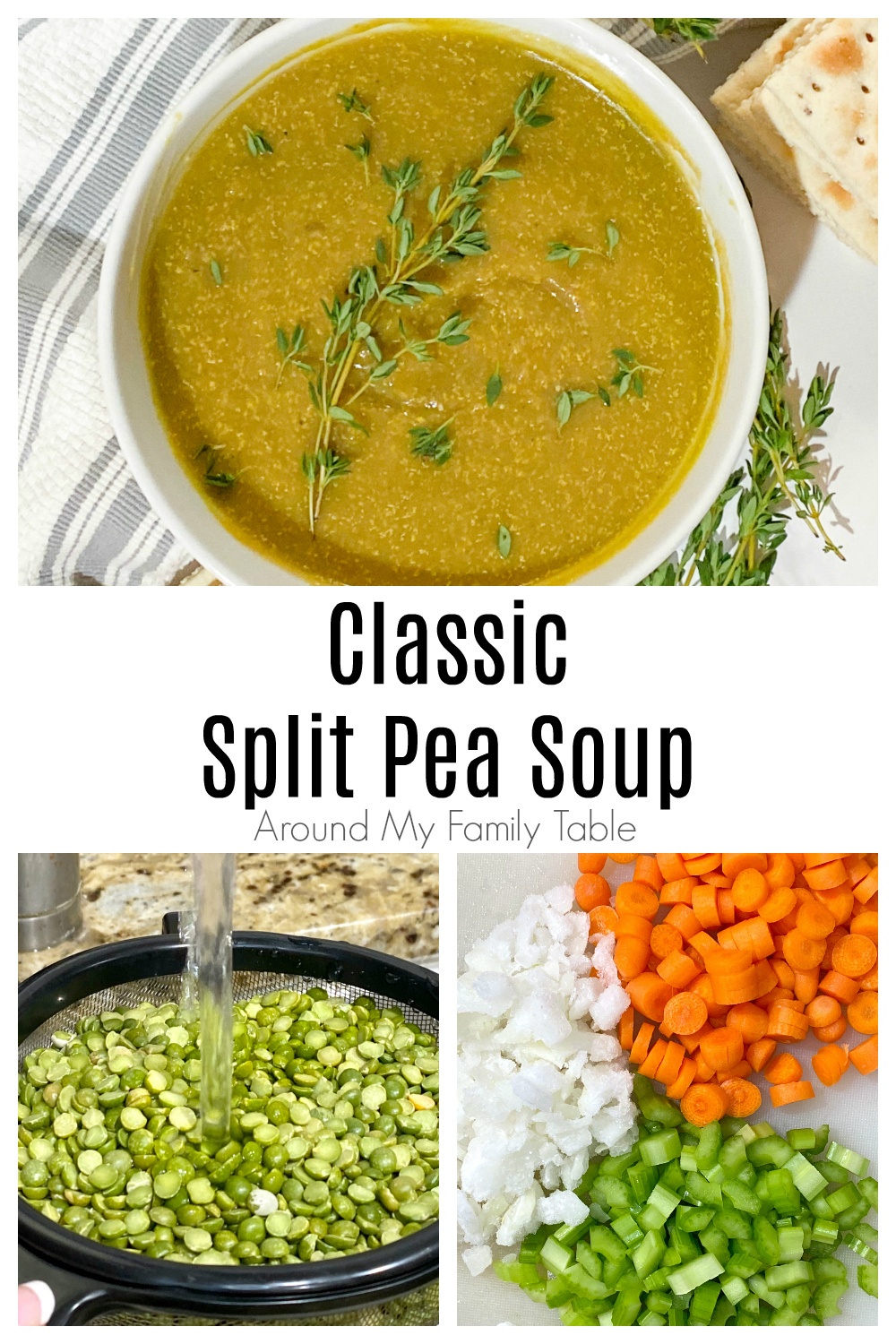 Delicious and simple Classic Split Pea Soup made with dried peas and a leftover ham bone screams comfort food. It's perfect for a cold winter day! via @slingmama