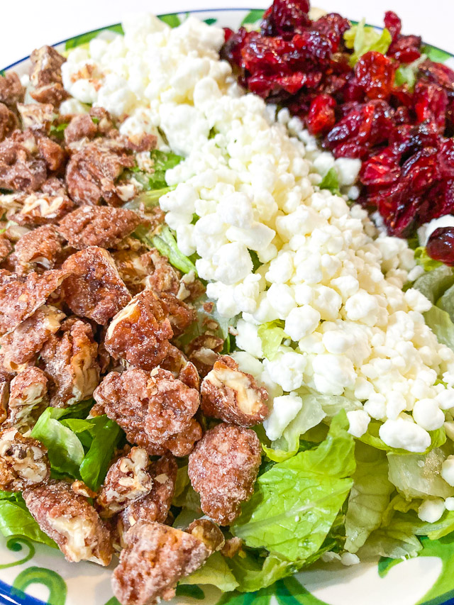Cranberry, Goat Cheese, & Pecan Salad in a bowl