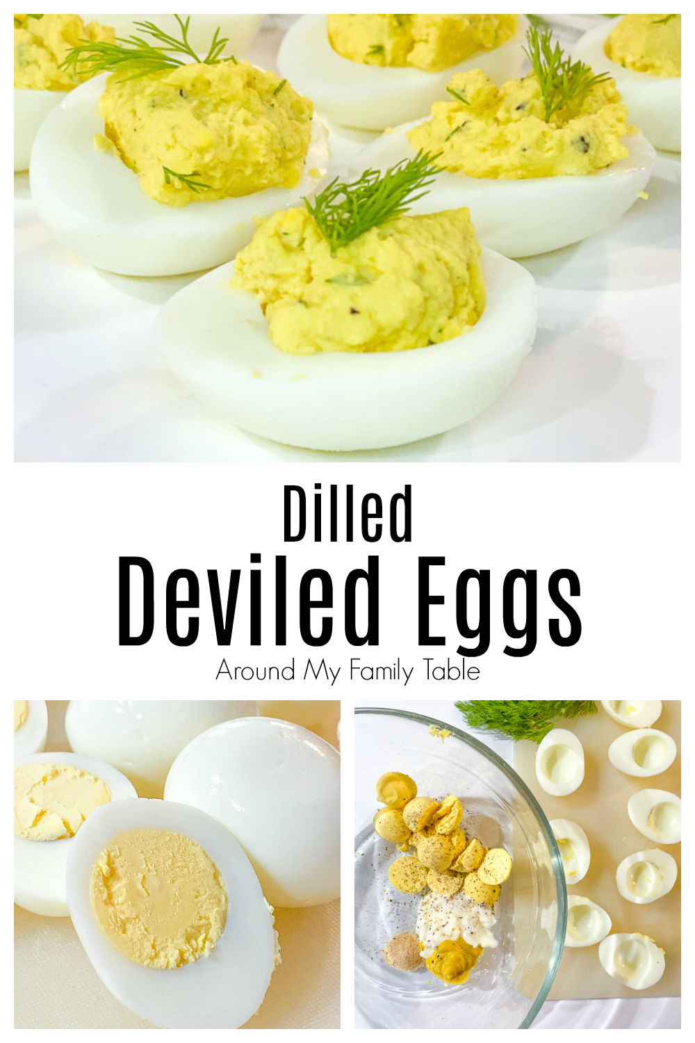 These Dilled Deviled Eggs are a kicked up version of traditional deviled eggs.  Fresh dill and garlic make these eggs irresistible.   via @slingmama
