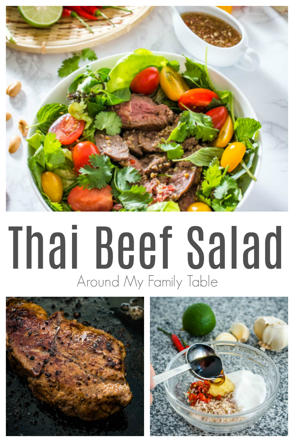 This Thai Beef Salad features thin slices of beef on fresh salad greens and herbs like mint, basil and cilantro, all tossed in a tangy and spicy Thai dressing then topped with chopped peanuts for some added crunch. via @slingmama